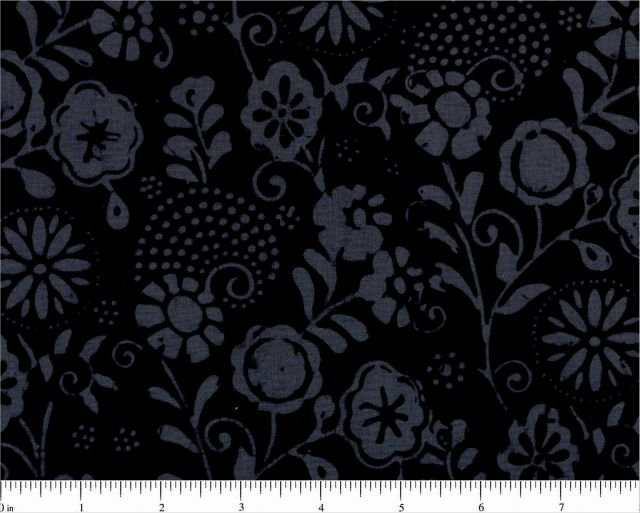 R07 0686-0199 Black Gray Floral Marcus Primo Batiks by Molly B's Studio