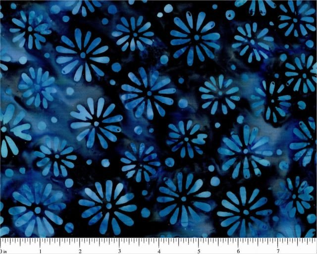 1524-0118 Blue on Navy Floral by Sarah J for Marcus Batiks