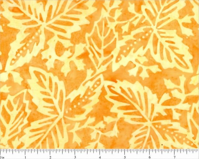 8105-0111_Orange w Cream Leaves Red Sky Batiks
