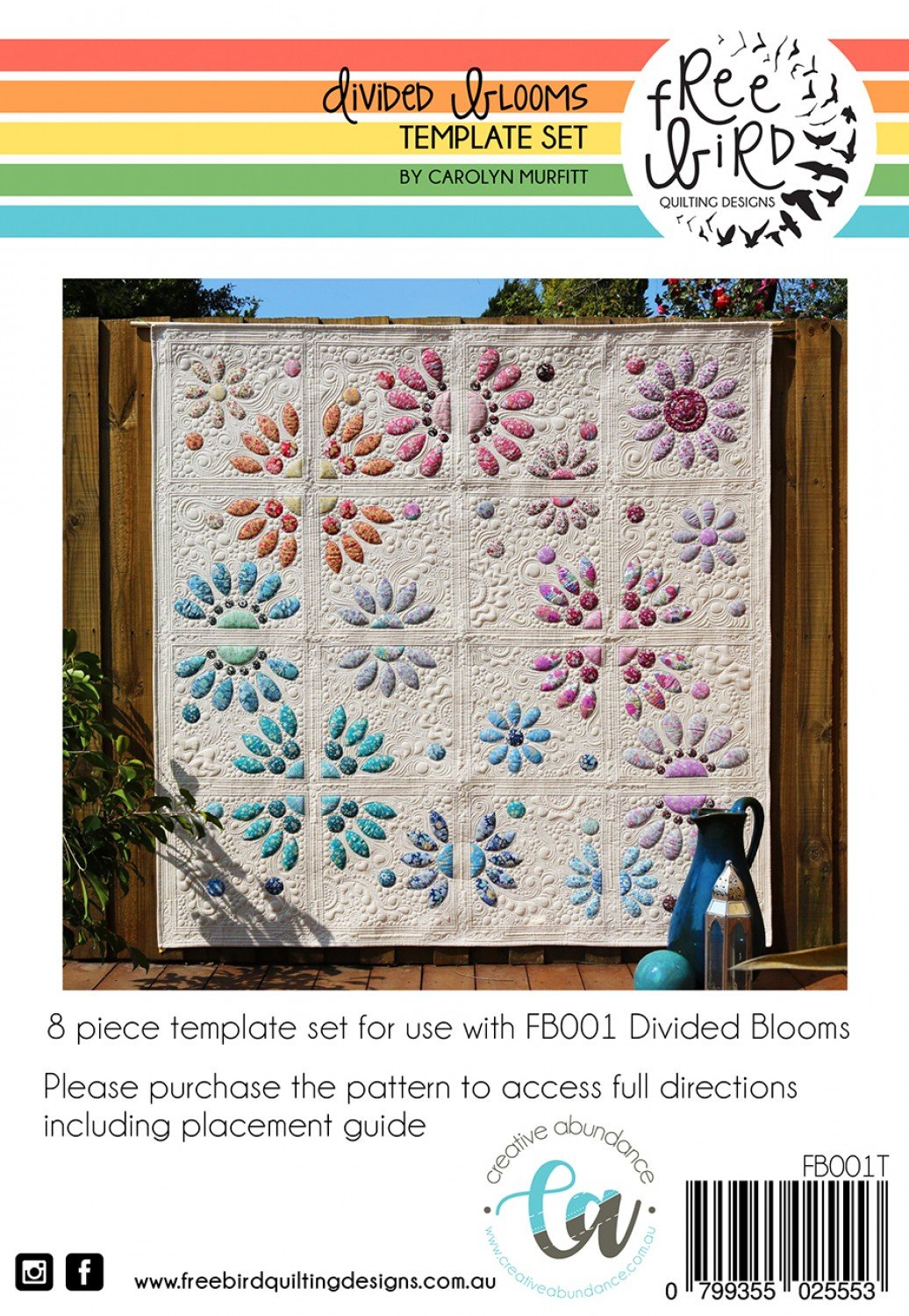 Divided Blooms -Template Set - Free Bird Quilting Designs