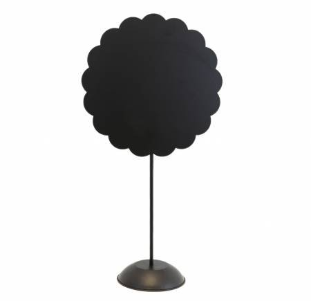Black Scalloped Round Magnetic Board with Stand