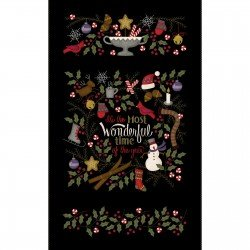 Most Wonderful Time Flannel PANEL by Bonnie Sullivan for Maywood Studios