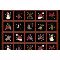 Most Wonderful Time Flannel Squares PANEL by Bonnie Sullivan for Maywood Studios
