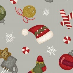 Most Wonderful Time Flannel Tossed Winter Motifs on Gray by Bonnie Sullivan for Maywood Studio