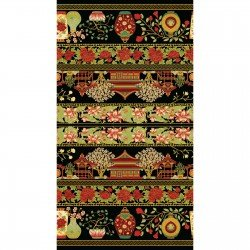 Summer Palace Metallic Border print by The Textile Factory