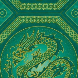 Summer Palace Metallic Dragons by The Textile Pantry
