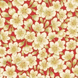 Summer Palace Metallic Blossom Red by The Textile Pantry