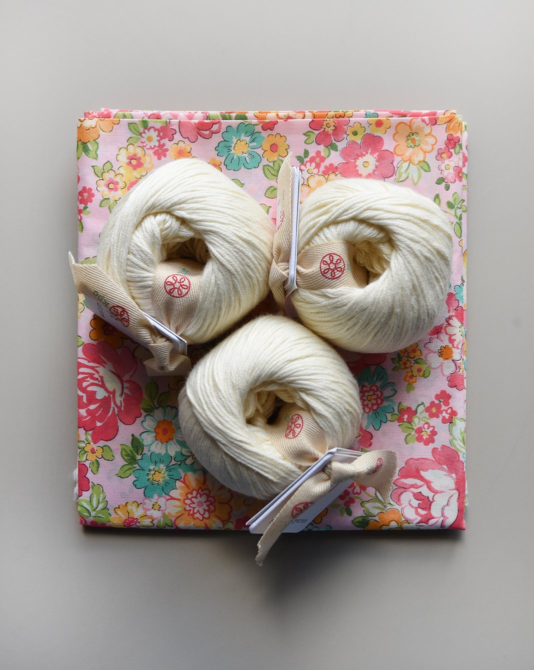 Liberty Of London - Pretty in Pink Kit, with Ivory yarn & Pink Floral Backing