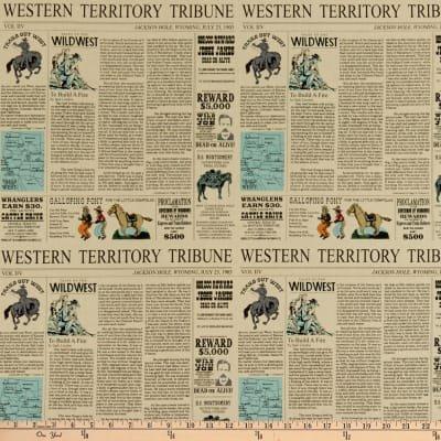 Riley Blake Designs - Carta Bella Paper Co - Cowboy Country Newsprint - Cream