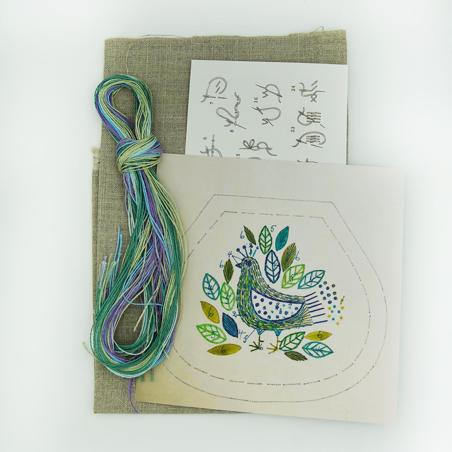 Linladan - Bird 6412 - Swedish Embroidery Kit 107