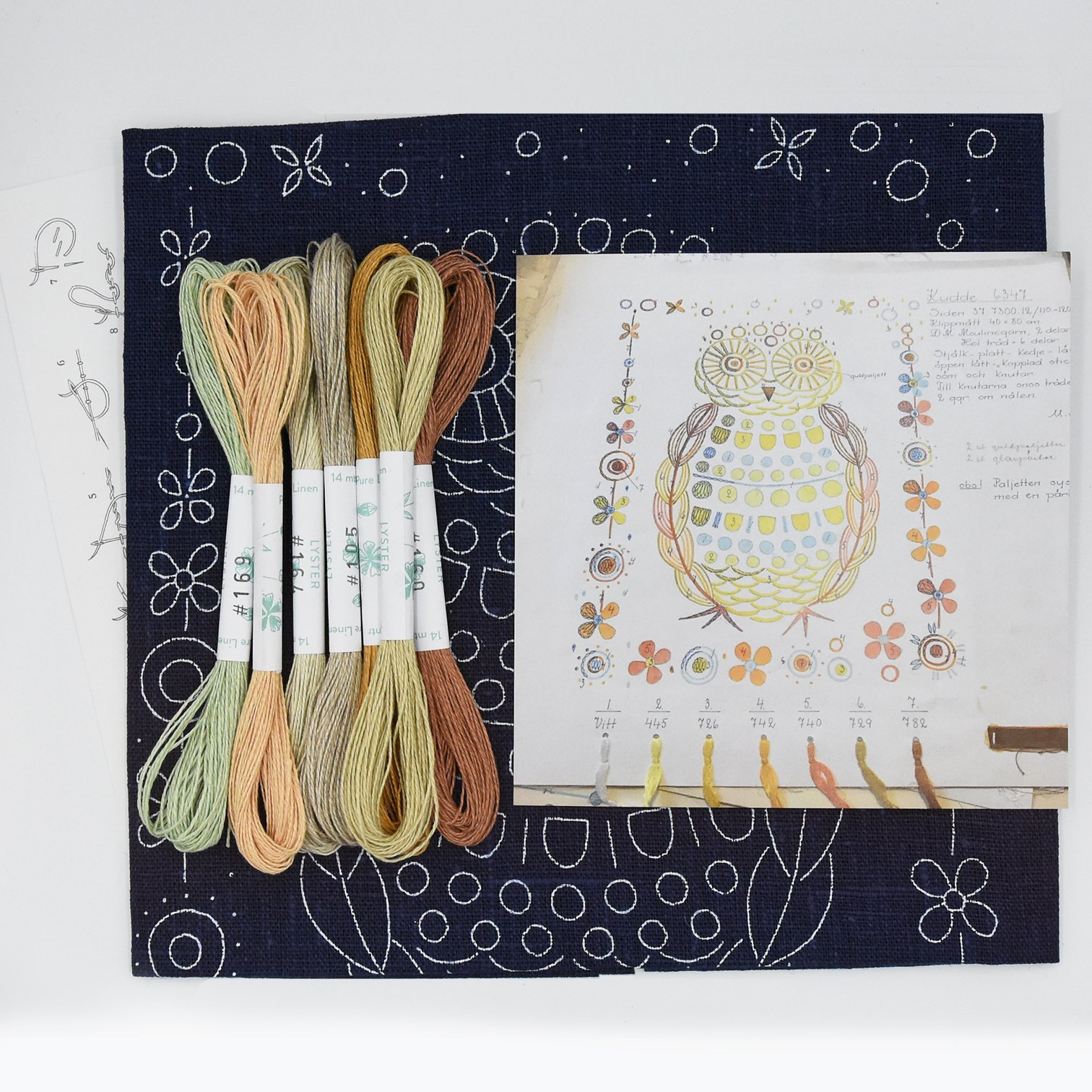 Linladan - Owl 6347 - Swedish Embroidery Kit 10