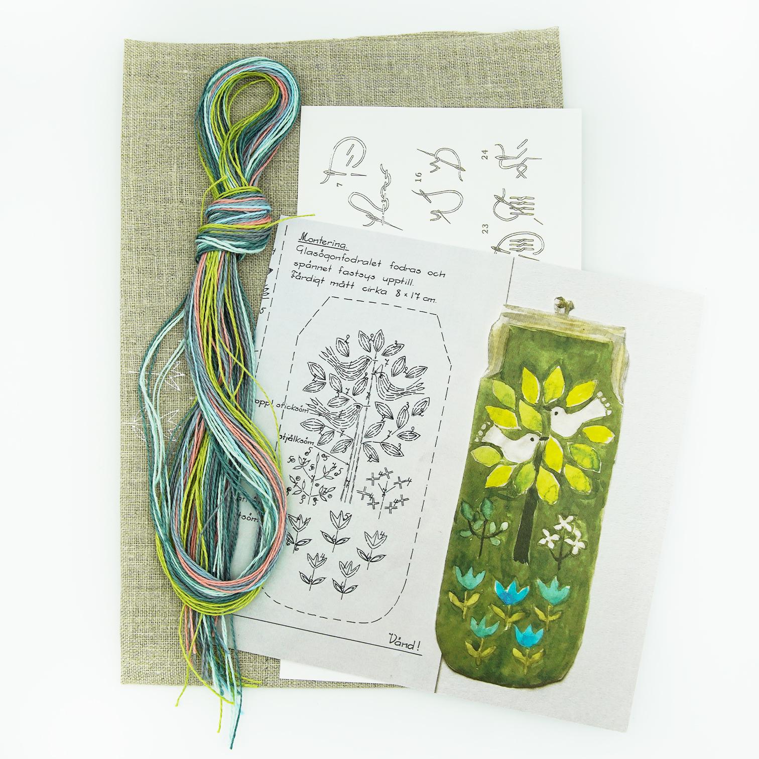 Linladan - Birds in Tree - Swedish Embroidery Kit 126