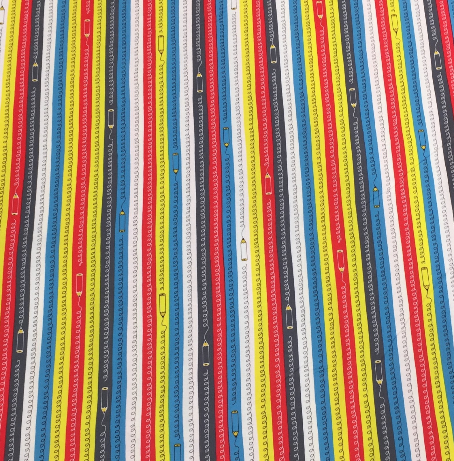 Cosmo Textiles - Pencil Stripes - Red/Blue/Yellow