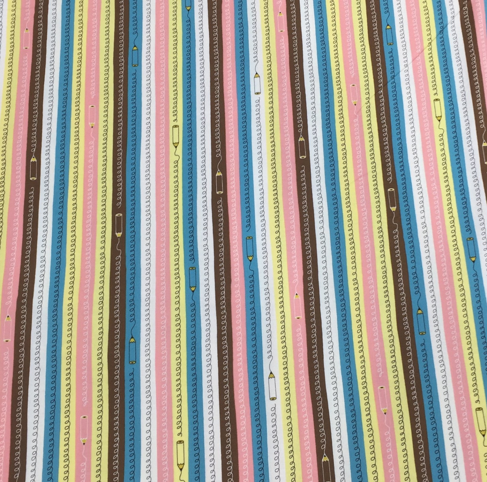 Cosmo Textiles - Pencil Stripes - Pink/Blue/Yellow
