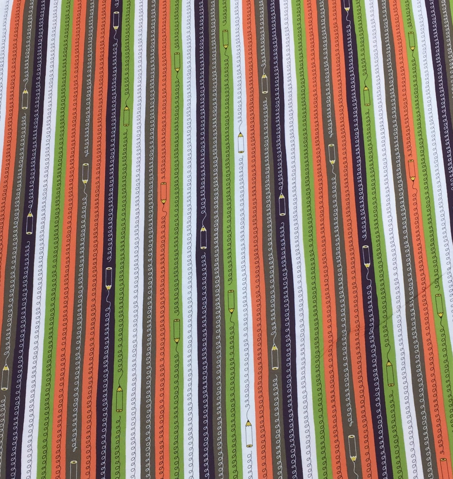 Cosmo Textiles - Pencil Stripes - Orange/Green/Brown