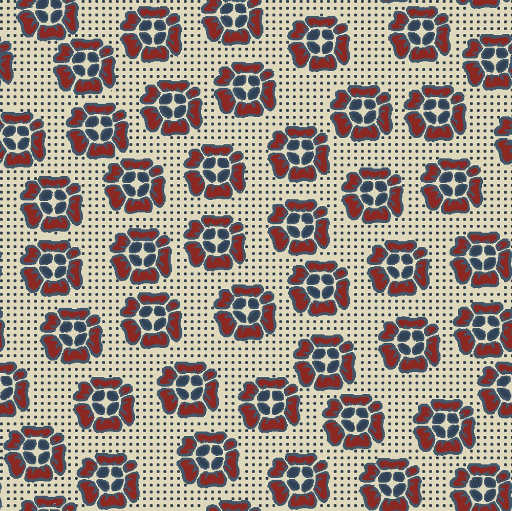 Stof Fabrics - Quilters Basic Harmony - Blue With Red Flowers