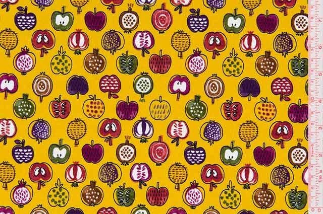 Cosmo Textiles - Printed Poplin - Fruits - Yellow