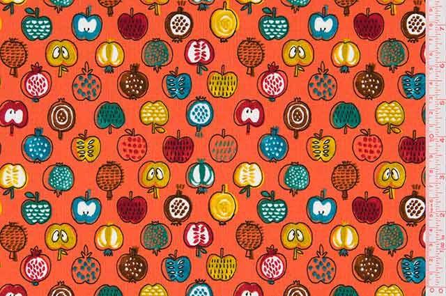 Cosmo Textiles - Printed Poplin - Fruits - Orange