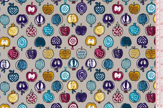 Cosmo Textiles - Printed Poplin - Fruits - Grey