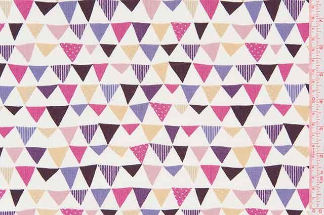 Cosmo Textiles - Printed Poplin - Triangles - Purple