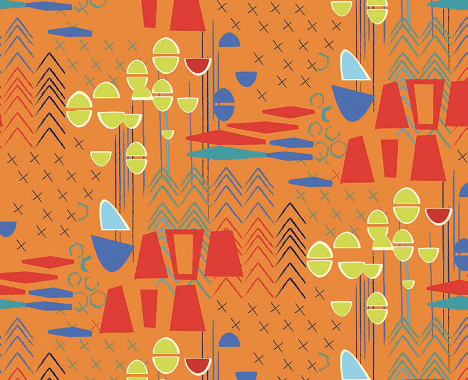 Benartex Fabrics - Christa Watson - Modern Marks - Marks - Orange