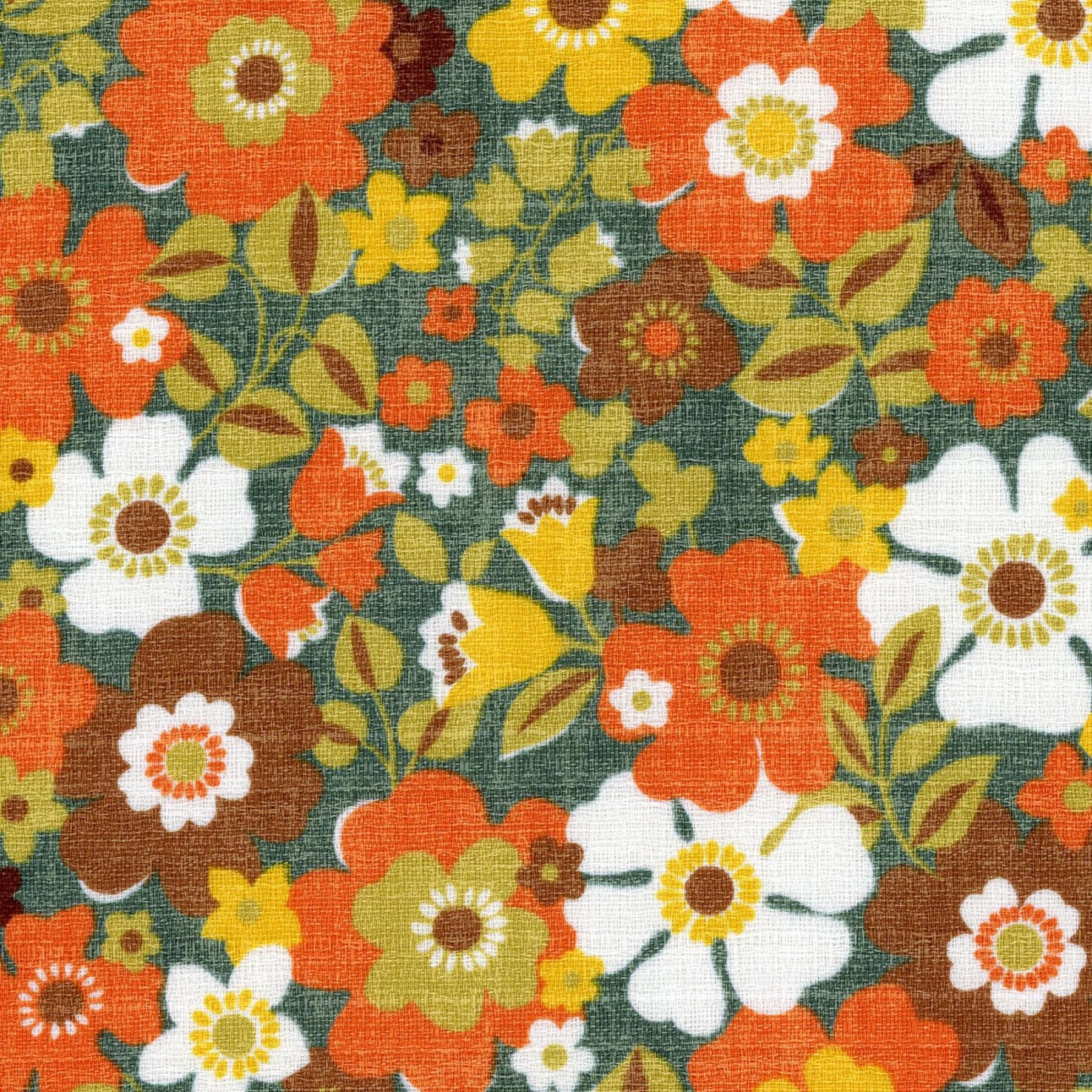 Kokka - Sopo Retro - Floral - Blue/Orange