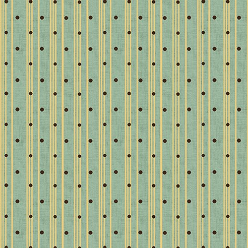 Henry Glass - Kim Diehl - Sage & Sea Glass - Polka Dot Ticking Stripe - Blue