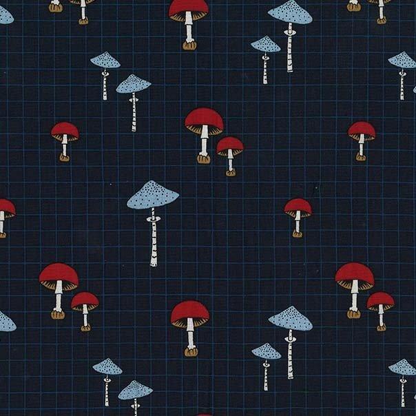 Michael Miller - Axelle Design - Forest Gifts - Wild Mushrooms - Indigo