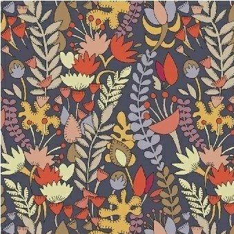 Windham Fabrics - Sally Kelly - Fantasy - Flowers - Blue