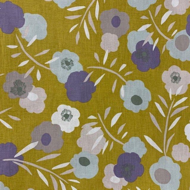 Handworks - Abstract Flowers - Mustard