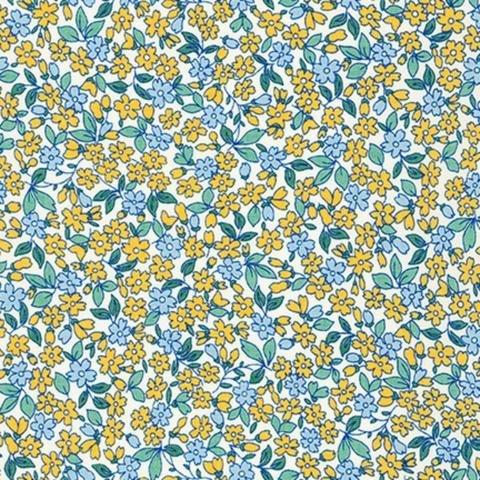 Robert Kaufman - Teapot Garden - Flowers - Yellow and Blue