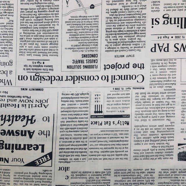 Kei Textiles - Newsprint - Black on White