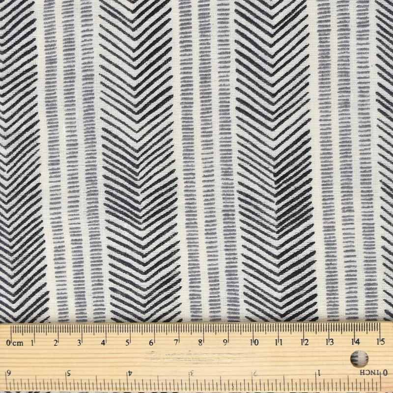 Kokka Fabrics - Trefle - Double Gauze - Herringbone Stripe - Grey