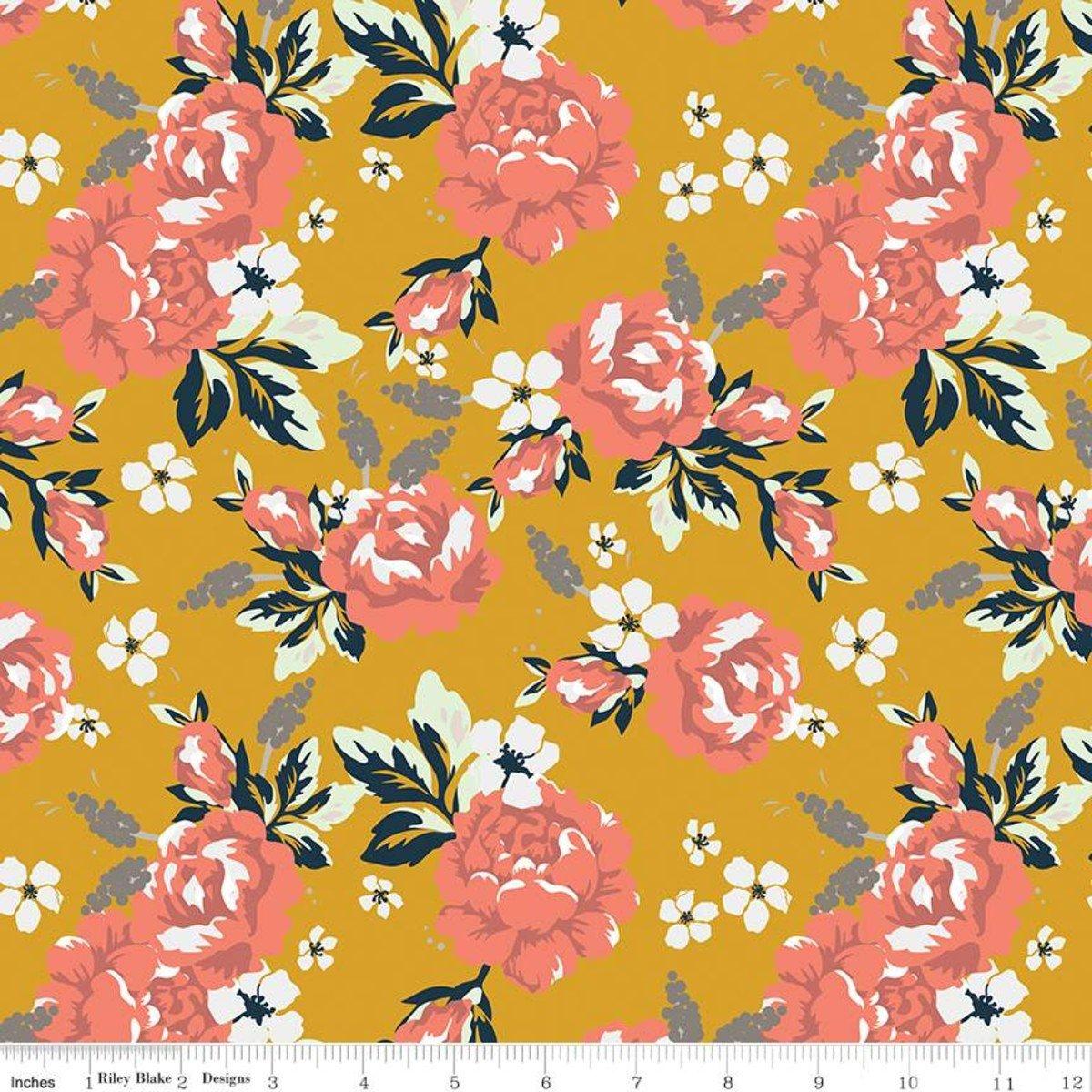 Riley Blake - Fancy Pants Designs - Amber Labou - Golden Days - Floral - Mustard