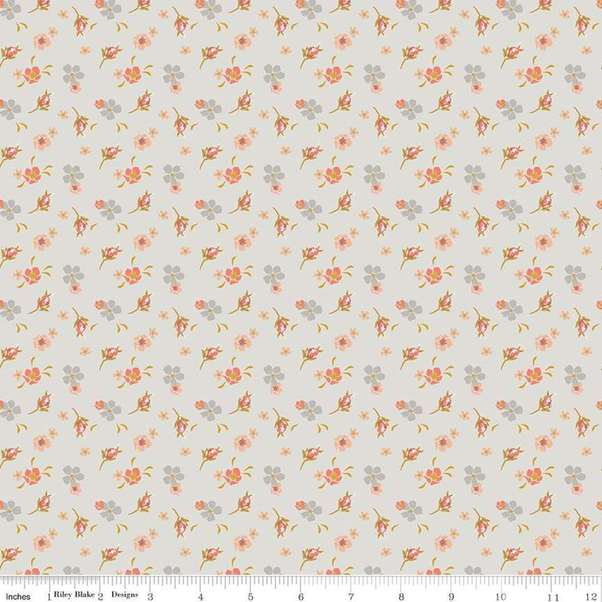 Riley Blake - Fancy Pants Designs - Amber Labou - Golden Days - Small Floral - Cream