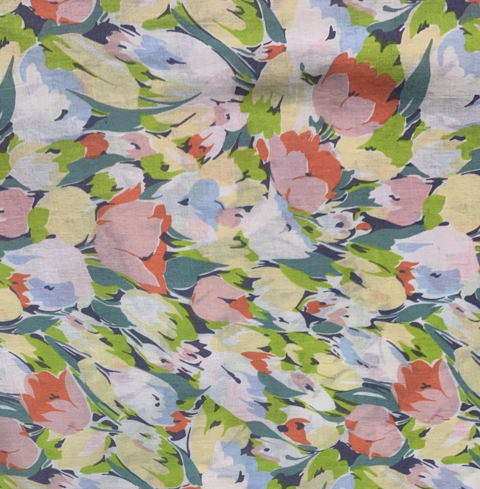 Hokkoh Fabric - Lawn Fabric - Painterly Tulips - Greens, Blues and Pink