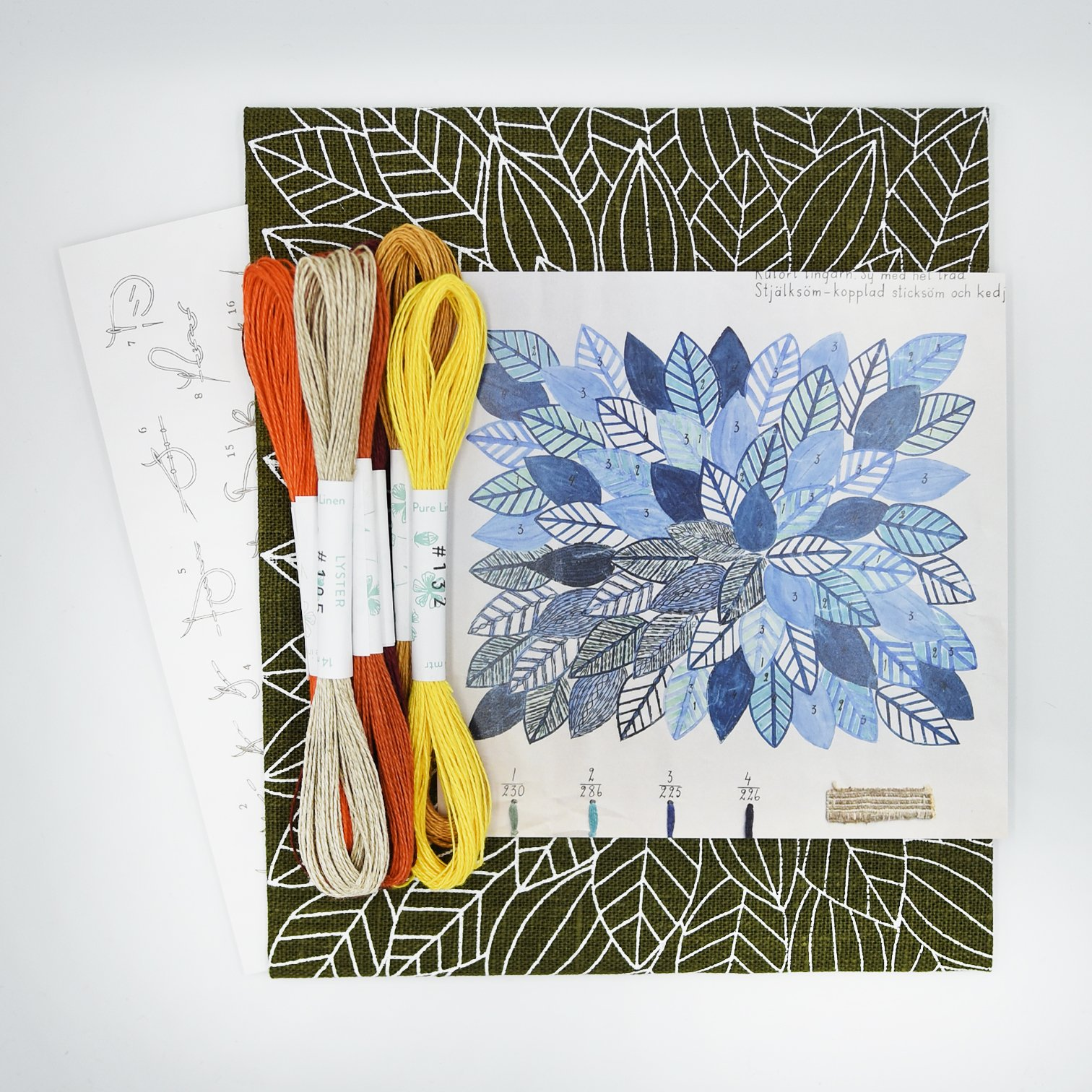 Linladan - Leaves 6193 - Swedish Embroidery Kit 35