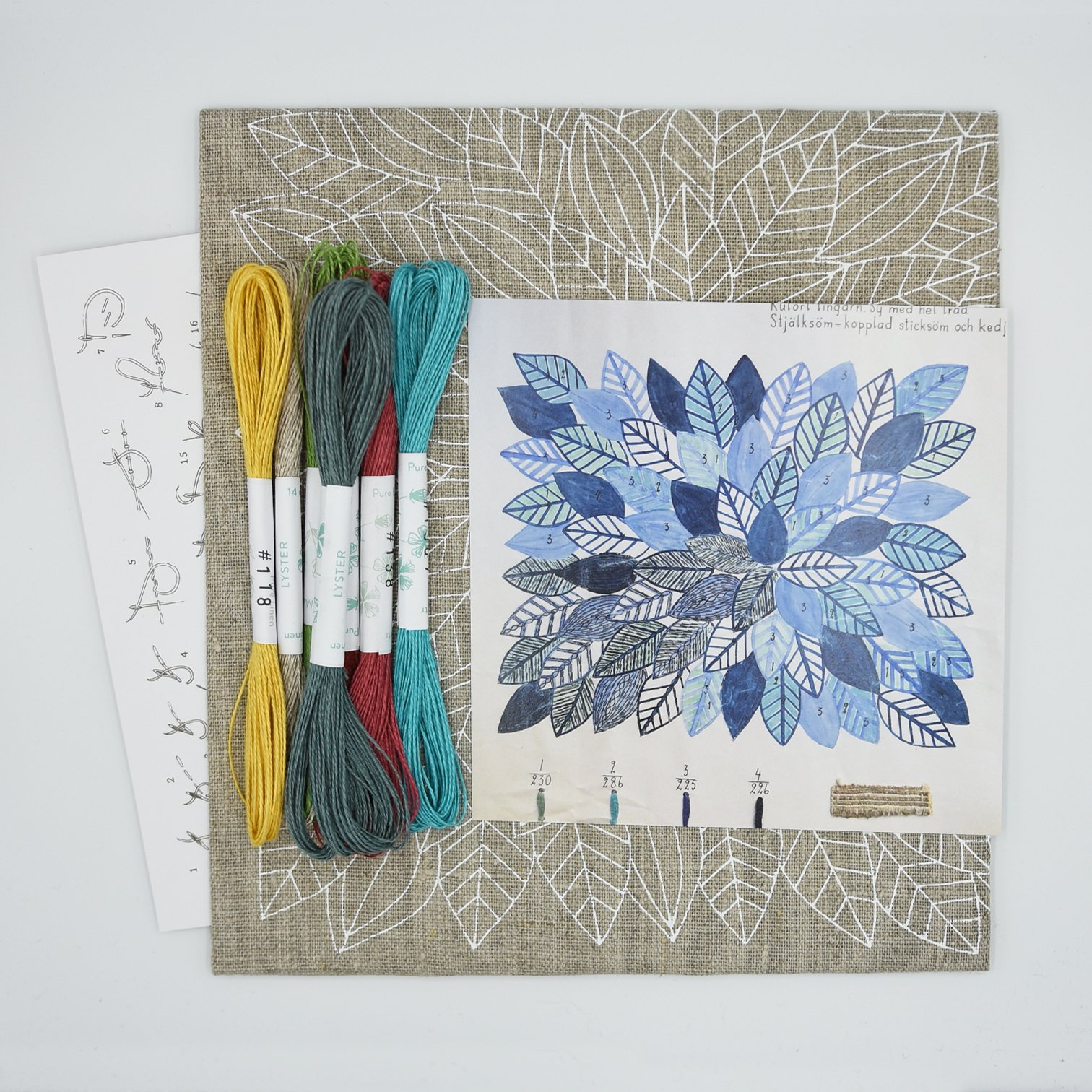 Linladan - Leaves 6193 - Swedish Embroidery Kit 36