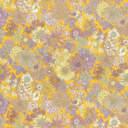 Lecien - Memoire a Paris - Large Flowers - Yellow