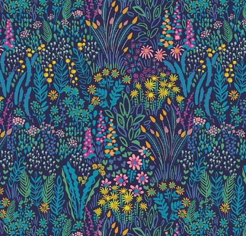 Windham Fabrics - Sally Kelly - Solstice - Blue Field Floral