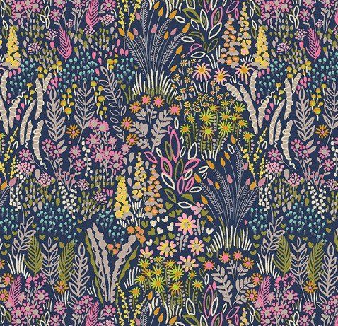 Windham Fabrics - Sally Kelly - Solstice - Navy Field Floral