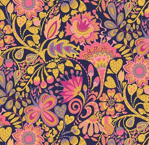 Windham Fabrics - Sally Kelly - Solstice - Navy Floral