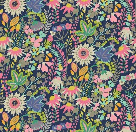 Windham Fabrics - Sally Kelly - Solstice - Navy Flouish