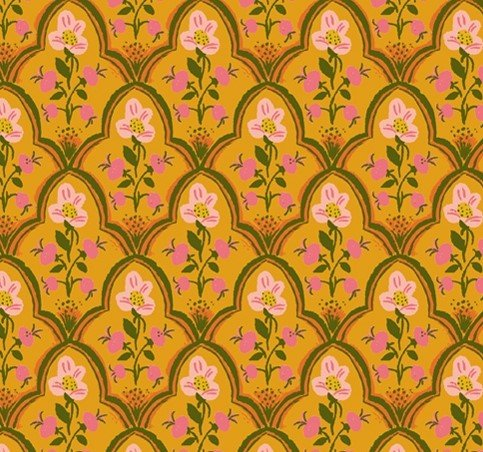 Windham Fabrics - Heather Ross - Malibu - Flowers Mustard & Pink