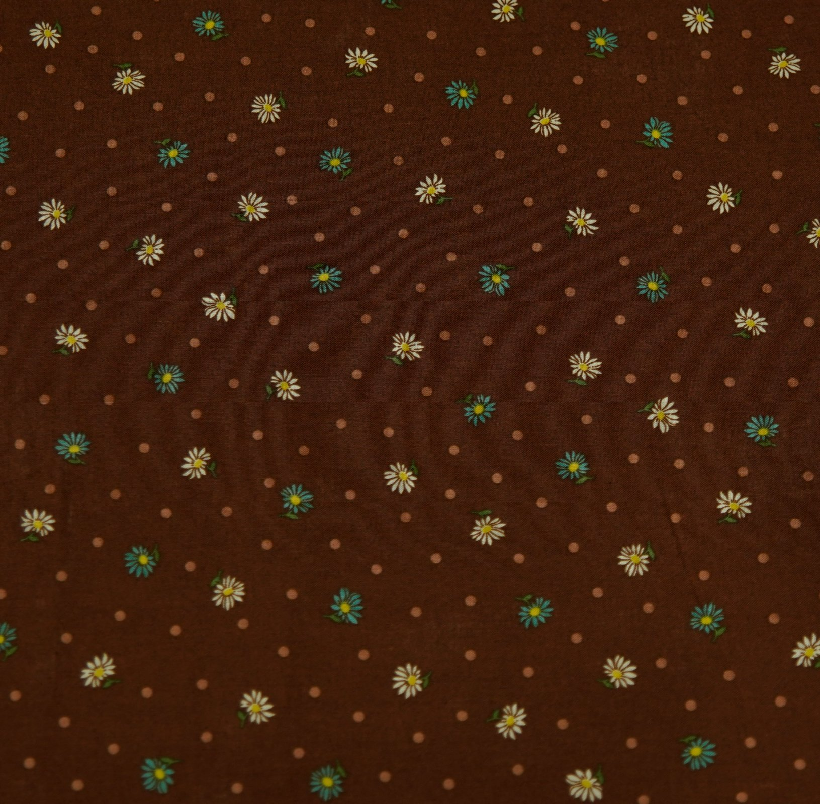 Japanese Fabric - Floral & Spot - Brown