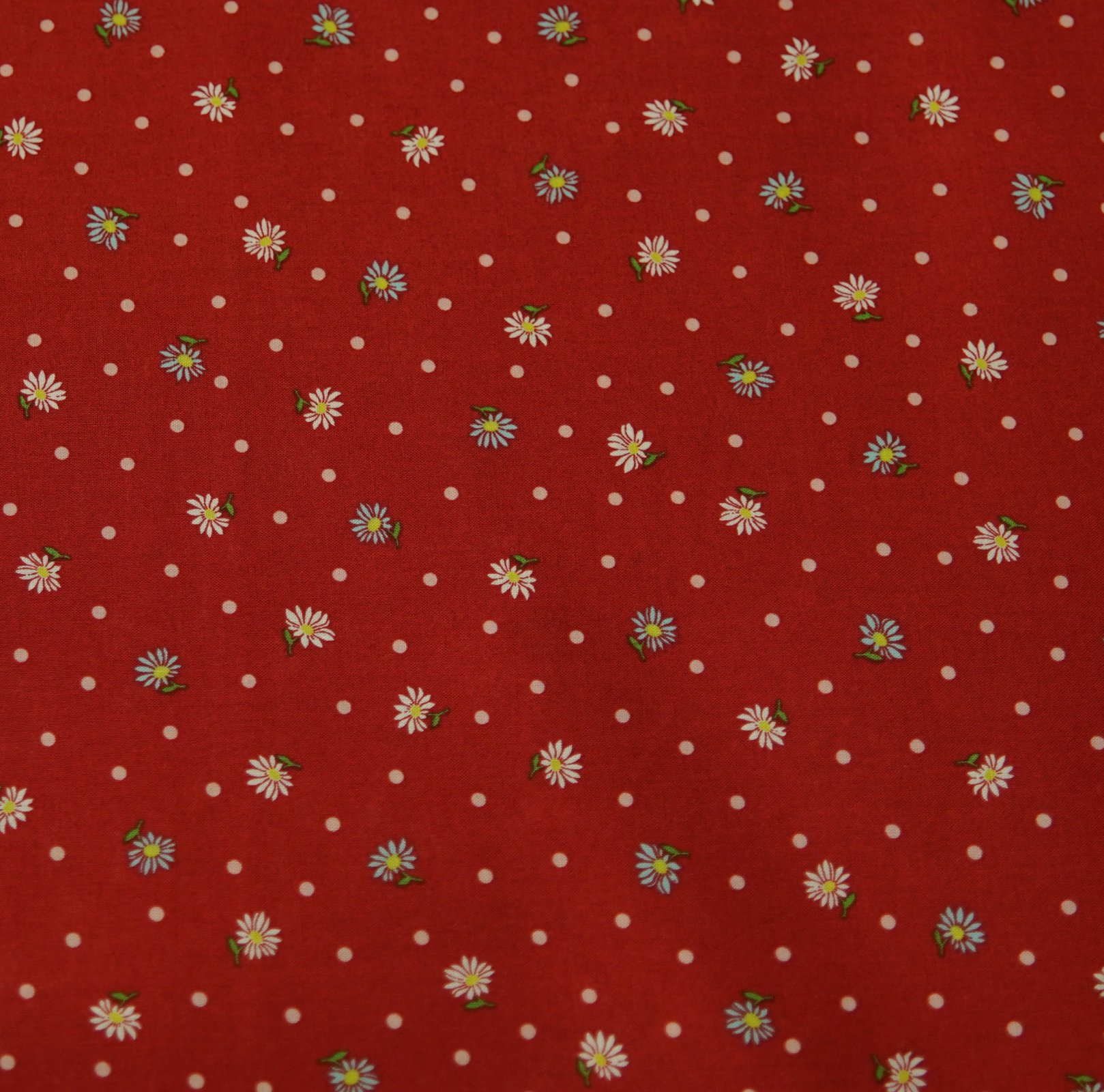 Japanese Fabric - Floral & Spot - Red