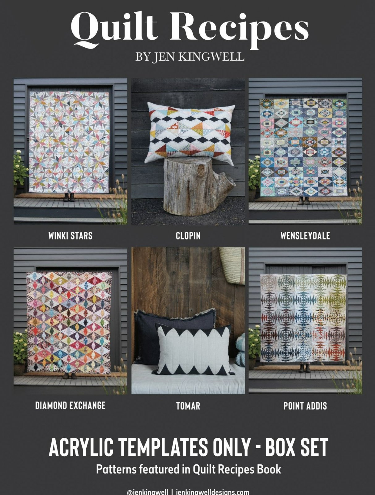 Quilt Recipes Box Set of 6 Acrylic Template Sets by Jen Kingwell