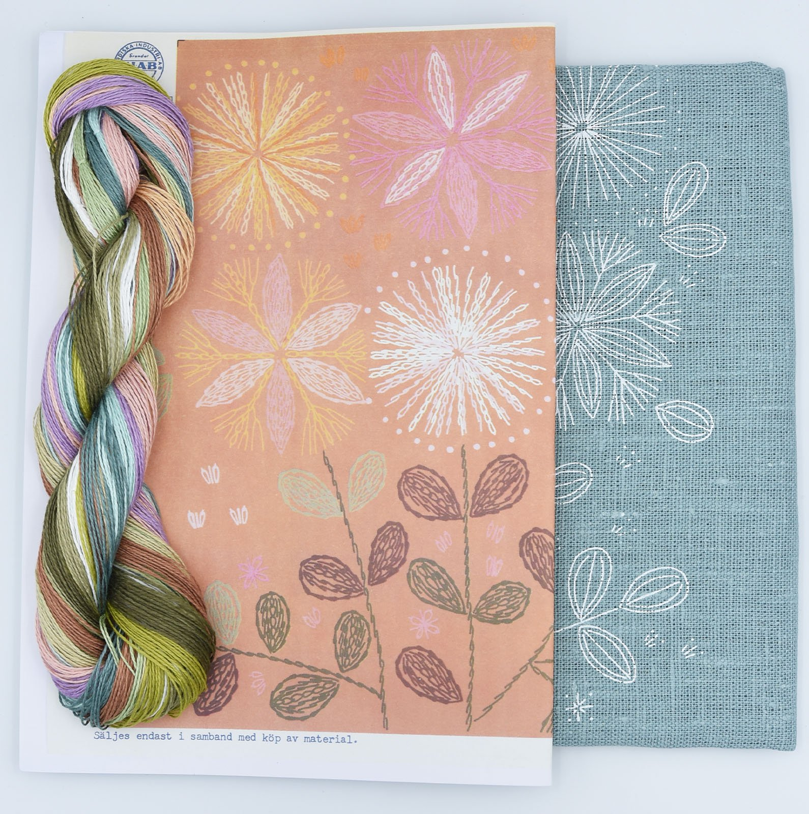 Linladan - Duck Egg Blue Bouquet - Cushion Kit with linen thread