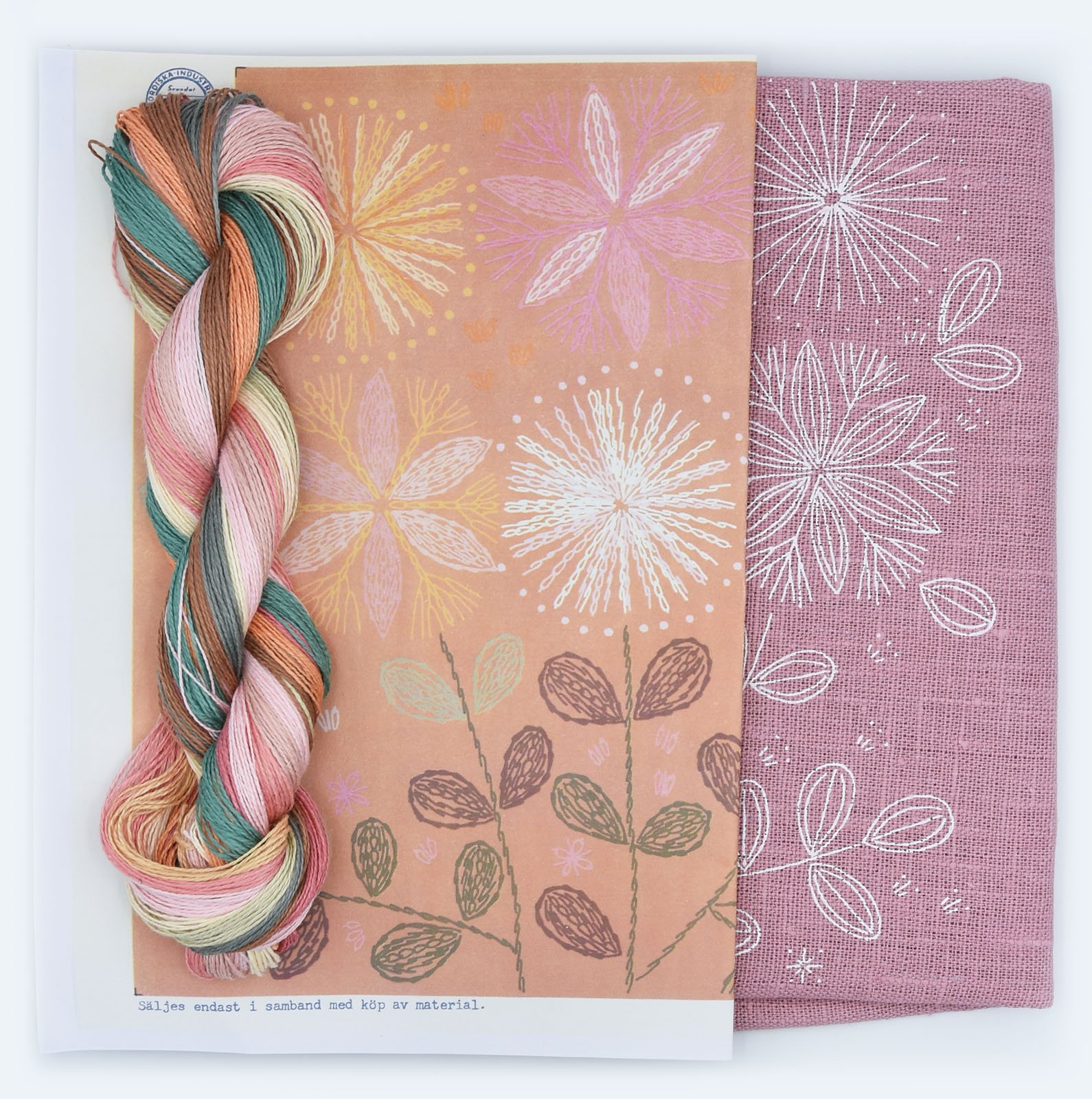 Linladan - Dusty Pink Bouquet - Cushion Kit with linen thread