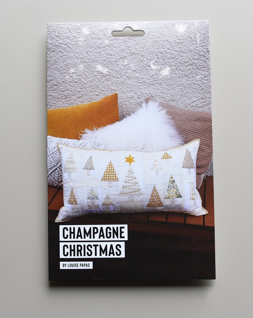 Champagne Christmas Cushion Pattern by Louise Papas